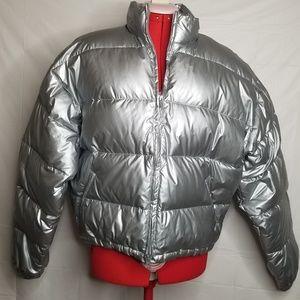 J. Crew Silver Metallic Puffer Jacket Down Large